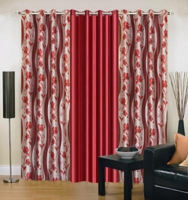 New Trends Polyester Maroon Printed Eyelet Door Curtain