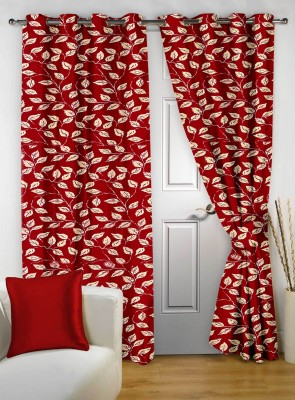 Story @ Home Polyester Maroon Printed Tab Top Door Curtain