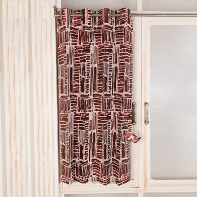 Threadmix Cotton, Polycotton Brown, Red Abstract Curtain Window Curtain