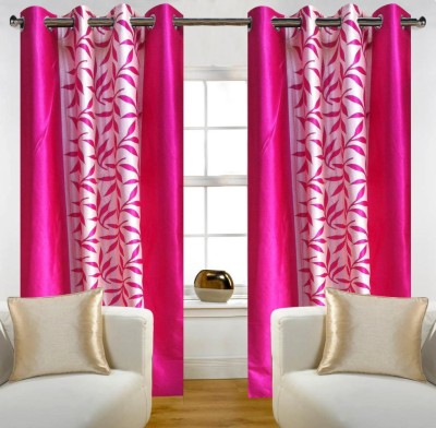Home Candy Polyester Pink Floral Eyelet Long Door Curtain