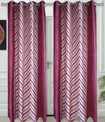 JF Polycotton Maroon Printed Eyelet Window & Door Curtain