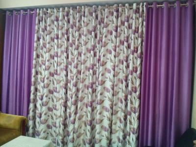 mansuriwala Polyester sweety purple Floral Eyelet Window & Door Curtain