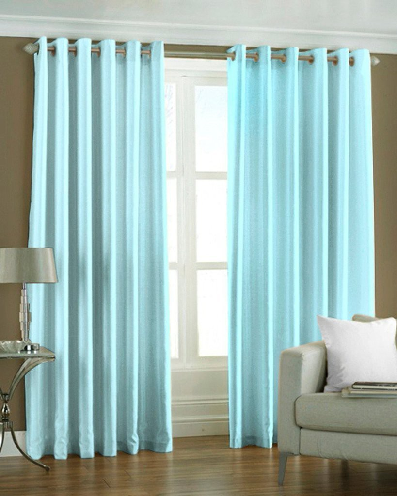 the decor store polyester skyblue plain eyelet window curtain - The Decor Store