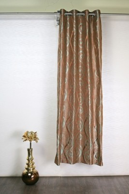 Puma Polyester Brown, Light Green Solid Eyelet Door Curtain