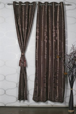 Homelife Polycotton Brown Self Design Eyelet Door Curtain