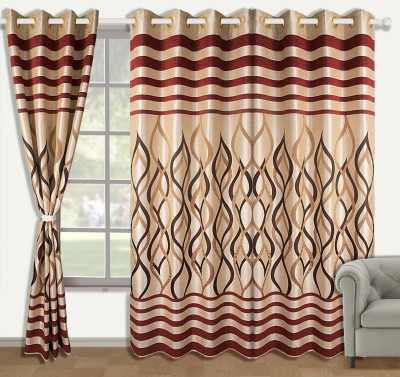 Zyne Polyester Multicolor Abstract Concealed Tab Top Window Curtain