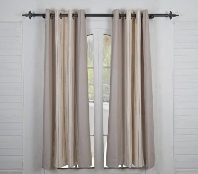 Maspar Cotton Beige Striped Eyelet Window Curtain