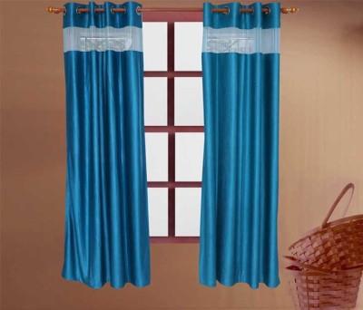 Store17 Polyester Blue Plain Eyelet Window & Door Curtain