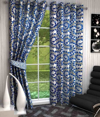 Divine Polyester Blue Floral Eyelet Window & Door Curtain