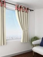 Swayam Satin Multicolor Printed Eyelet Window Curtain(150 cm in Height, Single Curtain)