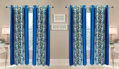 Thiwas Polyester Aqua Printed Eyelet Door Curtain