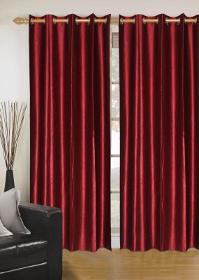 Madavs Polyester Maroon Solid Eyelet Window Curtain