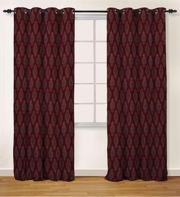 Oro Decor Polyester Ruby Wine Geometric Eyelet Door Curtain