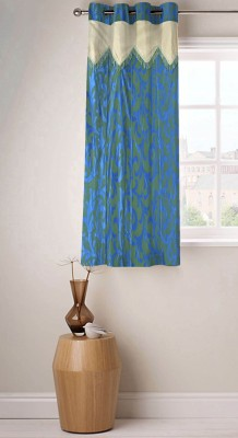 Fabutex Polyester Blue Floral Eyelet Window Curtain