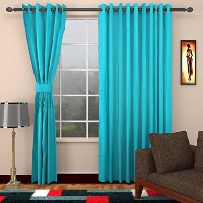 CPM HANDLOOM Cotton Tarquose Plain Eyelet Window & Door Curtain