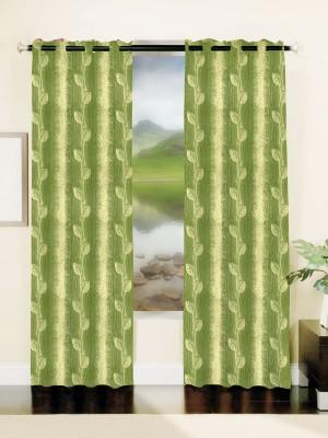 Mahamantra Polyester Green Solid Eyelet Window Curtain