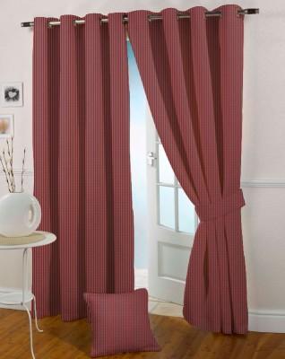 Presto Polyester Maroon Solid Eyelet Window Curtain