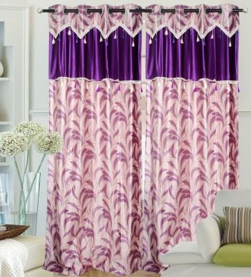 Hargunz Polyester Purple Floral Eyelet Door Curtain