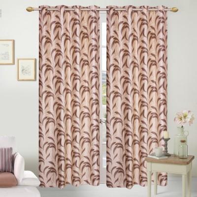 Handy Texty Polyester Brown Printed Eyelet Long Door Curtain