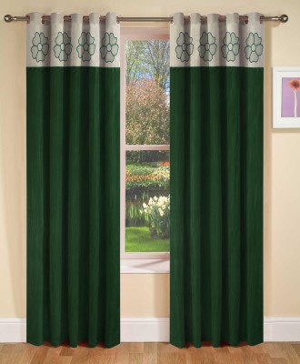 Abhi Decor Polyester Green Embroidered Curtain Door Curtain