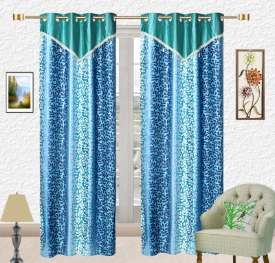 Comfort Zone Polyester Dark And Light Sky Blue Floral Eyelet Long Door Curtain