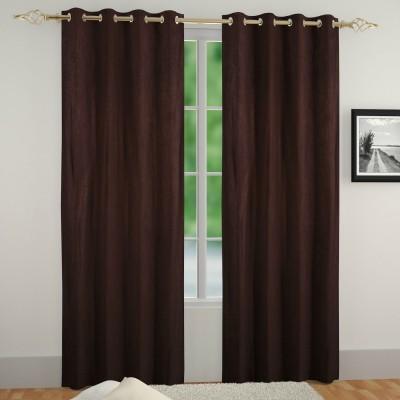 Muren Polyester Coffee Self Design Eyelet Door Curtain