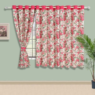 Swayam Cotton Beige, Pink, Green Floral Eyelet Window Curtain