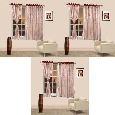 Go Decore Tissue Red Self Design Ring Rod Window Curtain