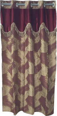 Ajratex Polyester Maroon, Gold Floral Eyelet Door Curtain