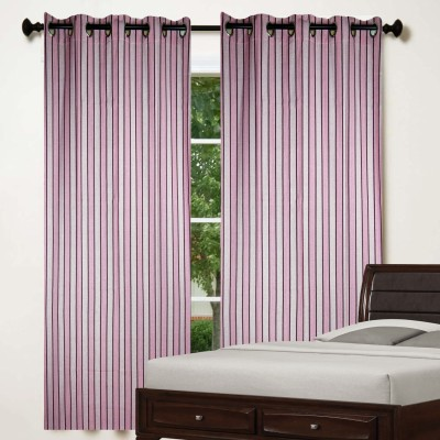 TG Shoppers Cotton Pink Striped Curtain Window Curtain