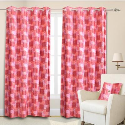 Maxx Home Polycotton Multicolor Geometric Eyelet Door Curtain