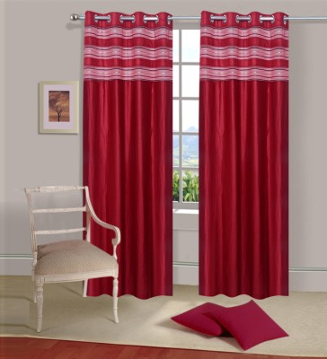 Excel Bazaar Polycotton Red Plain Eyelet Door Curtain