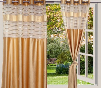 Desire Polyester Gold Solid Eyelet Door Curtain