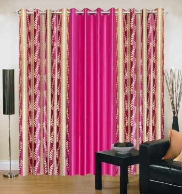 Brand Decor Polyester Pink Printed Eyelet Long Door Curtain