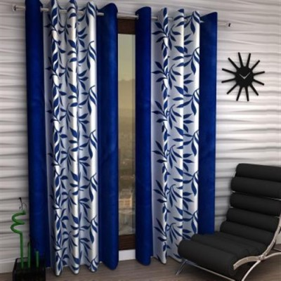 Homefab India Polyester Blue Floral Eyelet Long Door Curtain