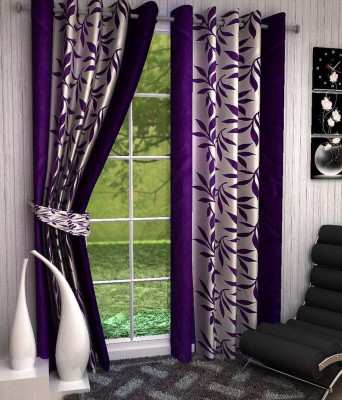 Chaitnya Handloom Polyester Dark Blue Floral Eyelet Door Curtain