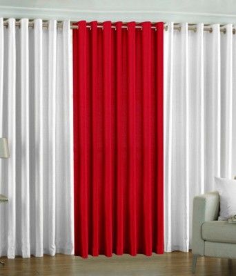 Shiv Fabs Polyester White Plain Ring Rod Long Door Curtain