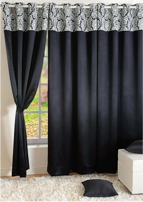 Swayam Silk Black, White Printed Ring Rod Door Curtain