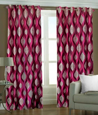 ABhomedecor Polyester Multicolor Abstract Eyelet Window Curtain
