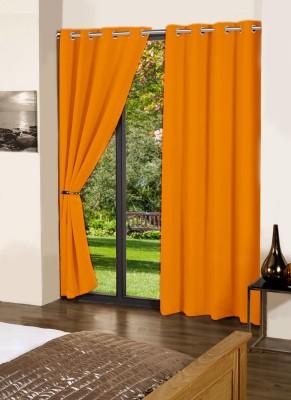 Lushomes Cotton Sun Orange Plain Eyelet Long Door Curtain
