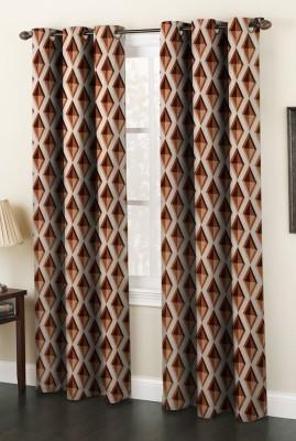 AJ Interior Polyester Coffee Printed Eyelet Window Curtain