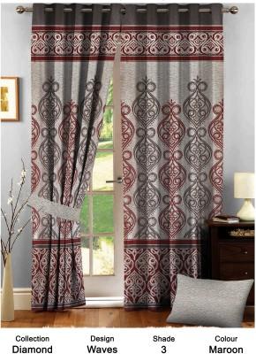 Comfy Polyester Maroon Damask Eyelet Door Curtain