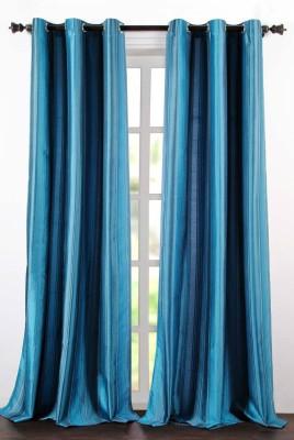 Deco Essential Polyester Dark Blue Plain Eyelet Window Curtain