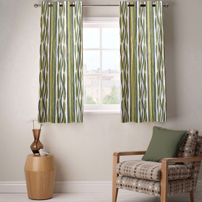 Fabutex Polyester Green Abstract Eyelet Window Curtain