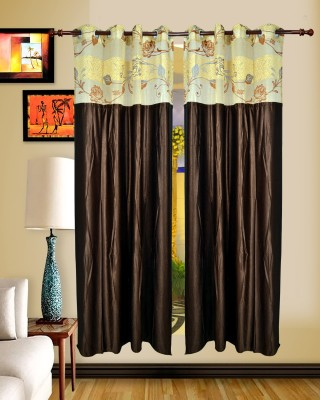 Maple Polyester Brown Embroidered Rod pocket Window & Door Curtain