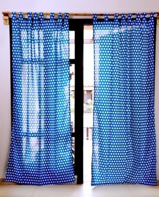 Ocean Homestore Cotton Dark Blue Polka Eyelet Window Curtain