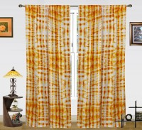 Dekor World Cotton Yellow Floral Rod pocket Window Curtain(150 cm in Height, Pack of 2)