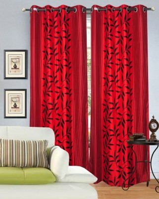 Hargunz Polyester Red Floral Eyelet Long Door Curtain
