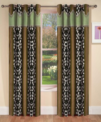 AJ Interior Polyester Green Abstract Eyelet Door Curtain