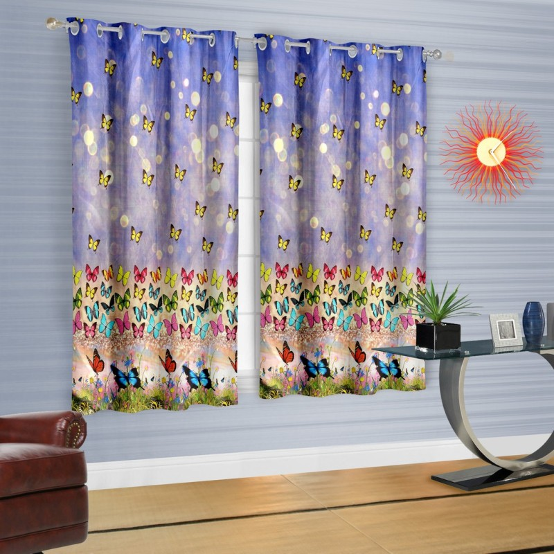 Cortina Polyester Purple Printed Eyelet Window Curtain(150 cm in Height, Single Curtain)